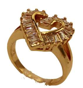 Heart with Cubic Zirconia18k Gold Plated Ring - Heart Ring with CZ Size 7 to 9