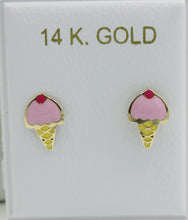 Ice Cream 14k Yellow Gold with Enamel Screw Back Earrings - Ice Cream Studs