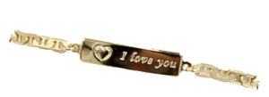 I love you ID Tag Bracelet 18k Gold Plated Bracelet - Enchape De Oro Pulso