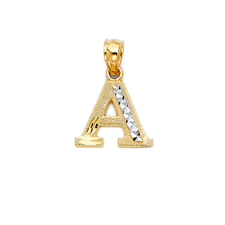 Initial Letter Charm 14k Yellow Gold Pendant - Initial Charm 14k Yellow Gold