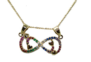 Rainbow Infinite Charm Necklace 18k Gold Plated with 20 inch Chain - Infinite