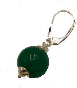 Jade Simulated Round 12mm Leverback Dangle Earrings .925 Sterling Silver