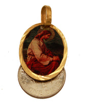 Jesus in the Garden Medal - Jesus En El Huerto Medal 14k Gold Plated with Chain