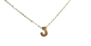 Initial Letter Necklace Adjustable Necklace 14k Yellow Gold - Initial14k Gold