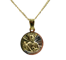 San Judas Tadeo Round Medal 18k Gold Plated with 20 inch Chain St Jude Thaddeus