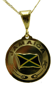 Jamaica Flag Pendant - Jamaica Flag Dije 18k Gold Plated with 22 inch Chain