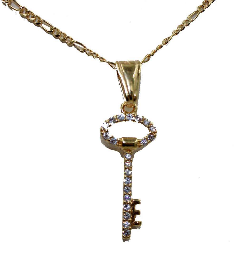 Key Pendant with CZ 18k Gold Plated Pendant with 20 Inch Chain - CZ Key Necklace
