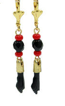 Figa Hand Azabache Dangle Earring 18k Gold Plated - Figa Azabache Dangle Earring