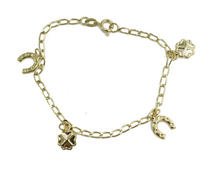 Clover with Horse Shoe Charm Lucky Bracelet 18k Gold Plated Bracelet 7 inches