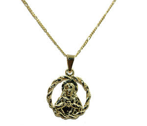 Sacred Jesus Heart Sagrado Corazon Medal 18K Gold Plated with 20 inch Chain