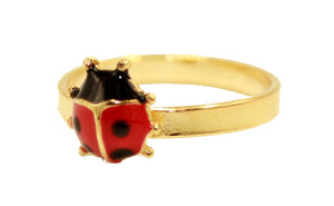 Ladybug Baby Girl Rings 18K Gold Plated - Ladybug Stackable Rings Size 3 & 4.5