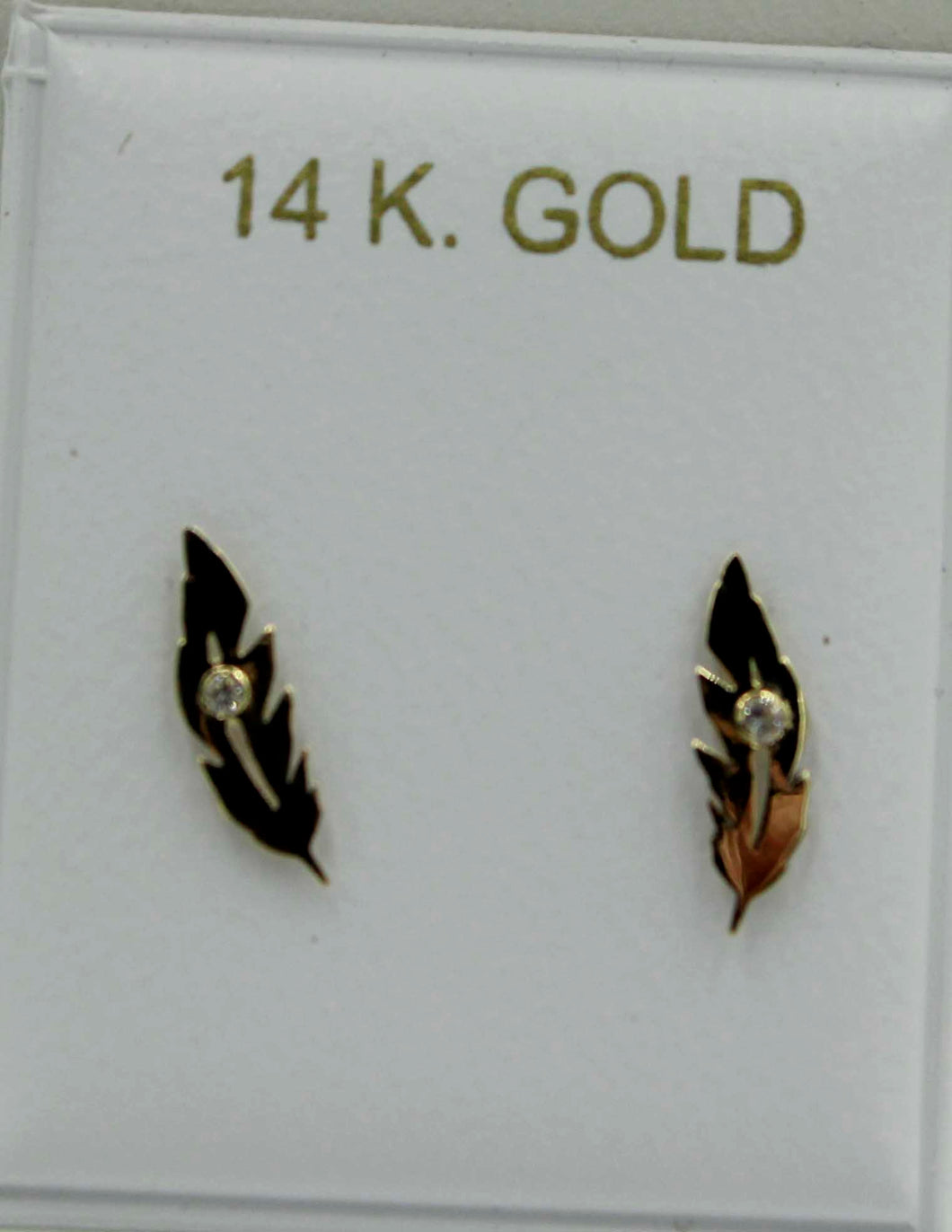 Leaf with CZ  Screw Back Earrings 14k Yellow Gold - Leaf Screw Back Earrings