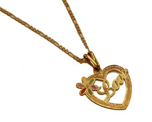 Love Heart Pendant 18k Gold Plated with 20 inch Chain - Love Necklace