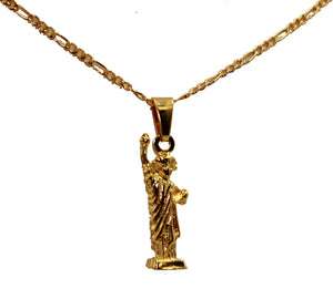 Lady Liberty Pendant 18k Gold Plated Pendant with 20 Inch Chain - Lady Liberty