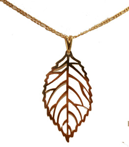 Tree Leaf Pendant 18k Gold Plated Pendant with 20 Inch Chain - Leaf Necklace