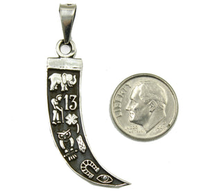 Lucky 8 Talisman Good Luck Tusk .925 Sterling Silver Pendant - Lucky Charm
