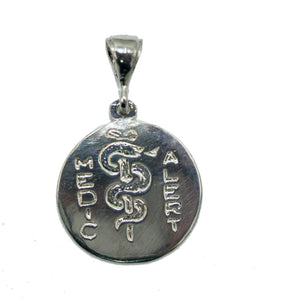 Caduceus Medical Alert Symbol .925 Sterling Silver Pendant - Medico Sign Pendant