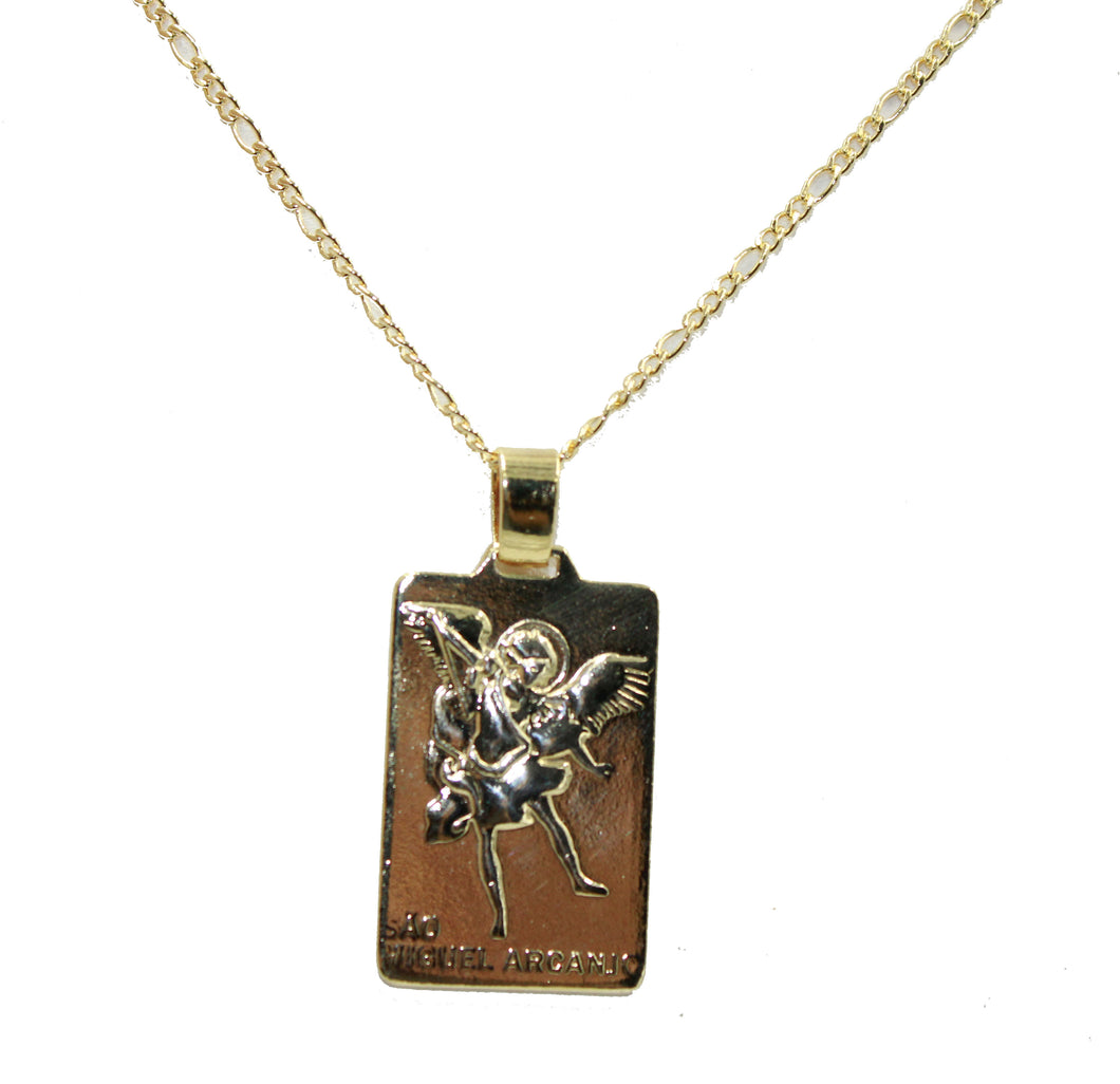 St. Michael Archangel Pendant with 20 inch Chain - San Miguel Arcangel Necklace