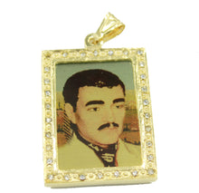 Jesus Malverde Prayer Pendant 14k Gold Plated Clear CZ with 24 inch Necklace