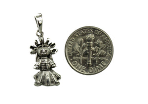 Mexican Doll Pendant .925 Sterling Silver - Mexican Doll Charm Mexico Silver