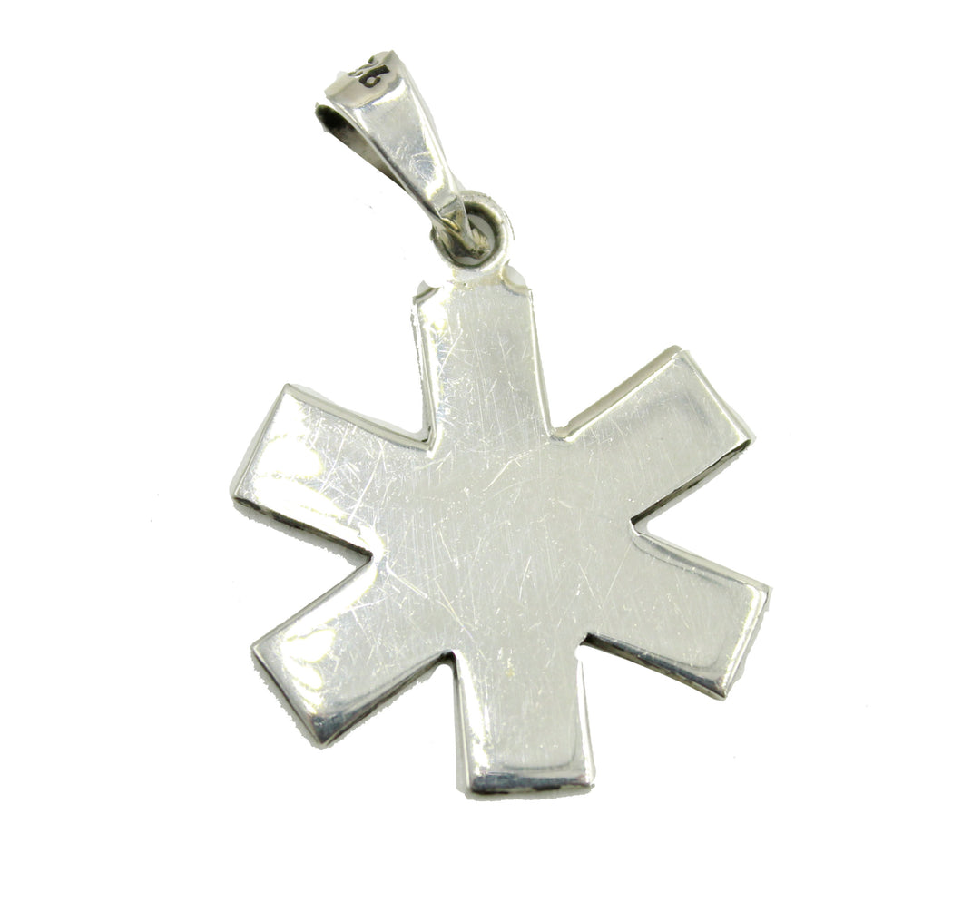 Caduceus Medical Alert Symbol .925 Sterling Silver Pendant Doctors Sign Pendant