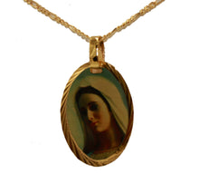 Our Lady of Medjugorje 14k Gold Plated Medal with 18 Inch Chain - Medjugorje