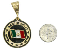Mexico Flag 18K Gold Plated Pendant with 22 Chain - Mexico Flag Necklace
