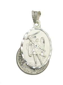 San Miguel Arcangel Medal .925 Sterling Silver with 20 inch Chain - St Michael Angel