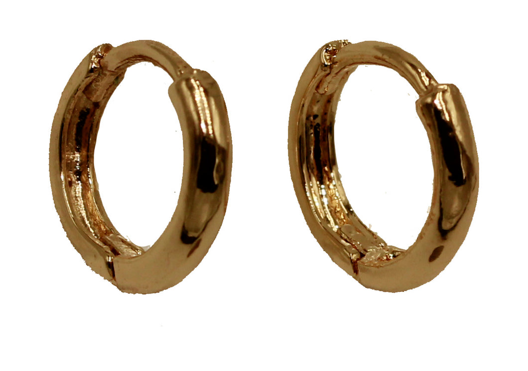 Small Huggie Hoops 18k Gold Plated - Round Small 18k Gold Plated Huggies