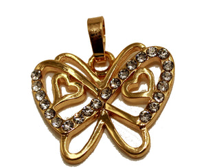 Butterfly with CZ 18k Gold Plated Pendant with 20 inch Chain - Mariposa Pendant