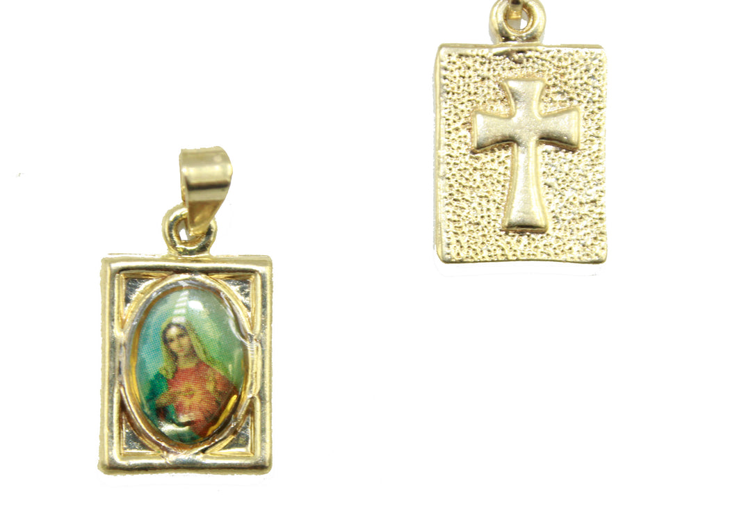 Dulce Corazon De Maria - Virgin Mary Heart 18k Gold Plated Medal with 18 Inch