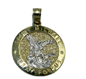 Saint Michael Archangel Round Medal 14k Yellow Gold Medal - San Miguel Arcangel