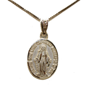 Virgen Milagrosa .925 Sterling Silver Pendant Medal with 18 inch Chain