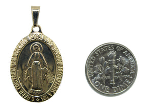 Virgen de la Medalla Milagrosa Oval Medal 18k Gold Plated Pendant with Chain