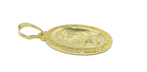 Virgen Milagrosa - Our Lady Milagrosa Oval Medal 18k Gold Plated Medalla Enchapada Pendant with 20 inch Chain