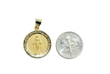 Virgen Milagrosa Round Medal 14k Yellow Gold - Our Lady of Miracles 14k Gold