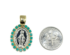 Milagrosa Medal with 20 inch Chain - Our Lady of Miracles with Turquoise Bezel