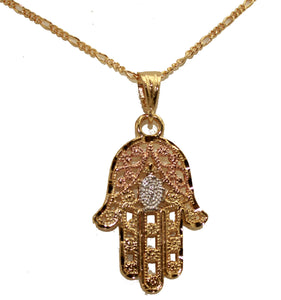 Hamsa Pendant 18k Gold Plated Pendant with 22 Inch Chain - Fatima Hand Necklace