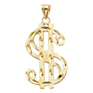 Money Sign Pendant 14k Solid Yellow Gold Pendant - Dollar Sign Pendant