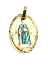 San Martin De Porres Medal 14k Gold Plated Medal with 18 Inch Chain