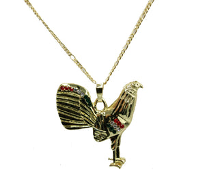 Rooster Round Pendant 18k Gold Plated - Rooster Medal with 22 inch Chain