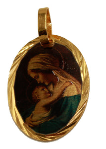 Madonna con Turbante 14k Gold Plated Medal with 18 Inch Chain - Virgen Mary
