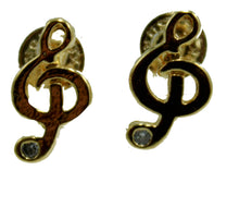 Clef Note 18k Gold Plated Earrings - Music Note Push Back Stud Earrings