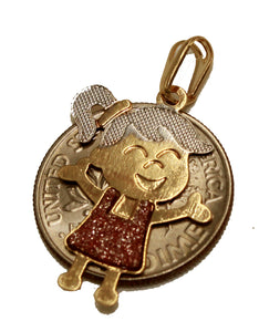 Girl Charm Pendant 18K Gold Plated with 20 inch Chain - Girl Necklace