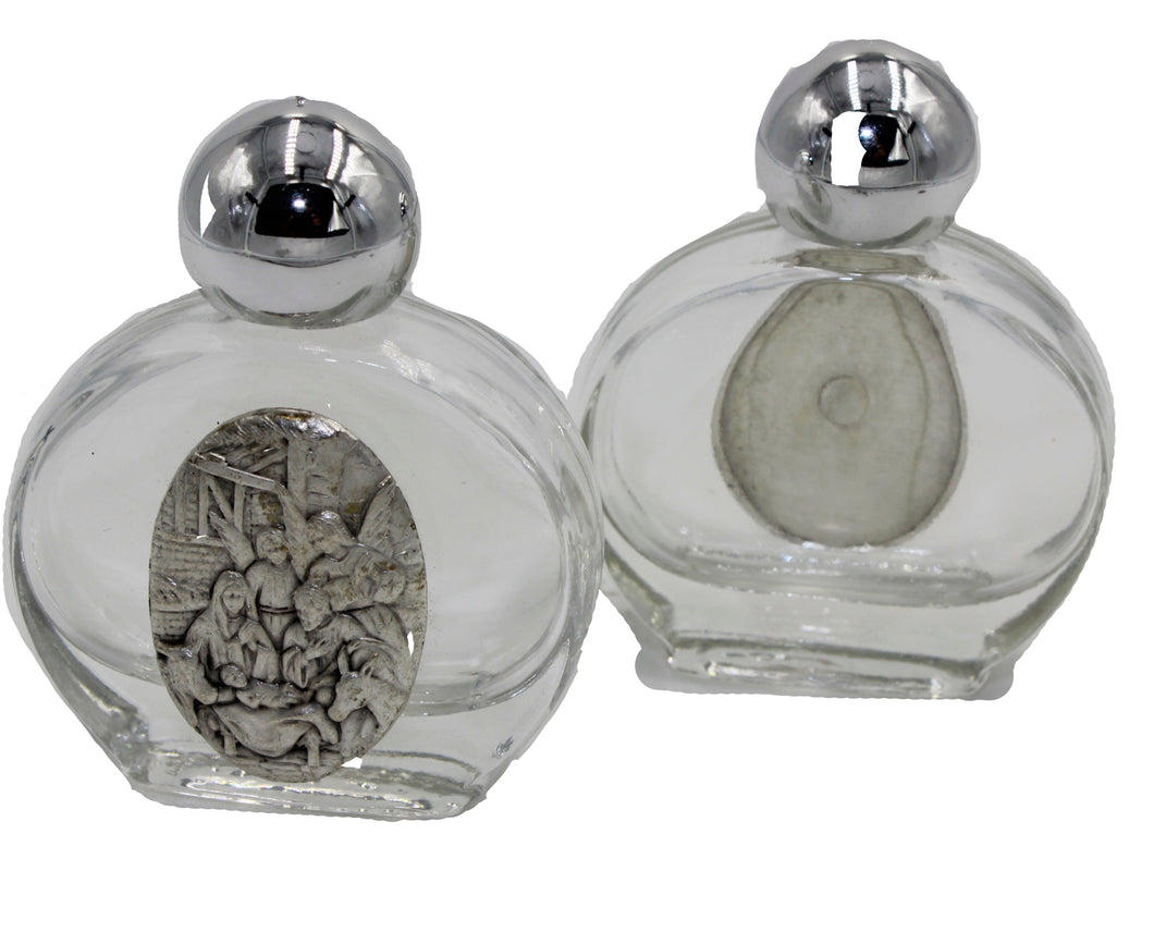 Glass Holy Water Bottle with Silver Plated Christ Birth Medal 0.5 oz Nacimiento