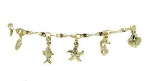 Nautical Beach Bracelet 18k Gold Plated - Marine Bracelet 18k Gold Plated 7 inch