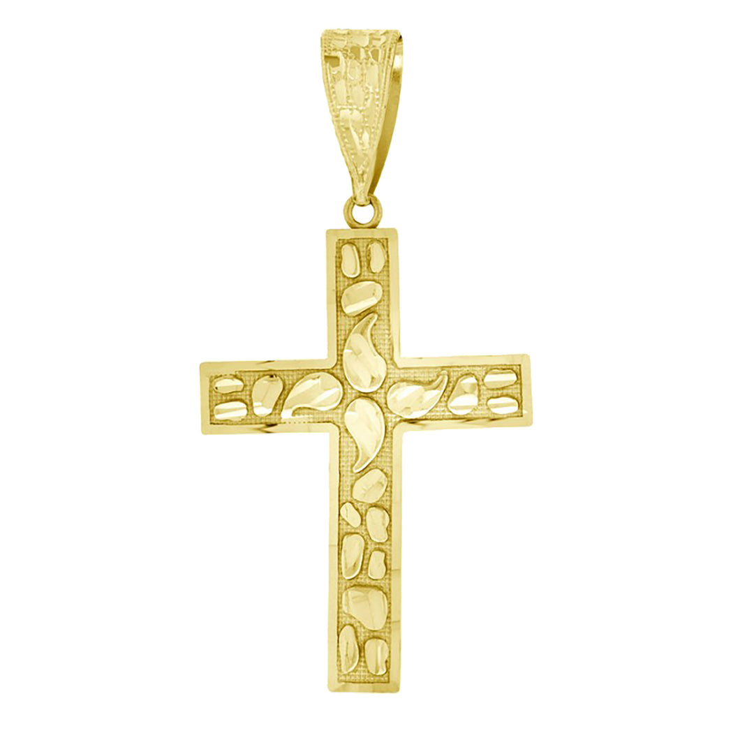Nugget Cross 14k Yellow Gold - Cross Nugget Cut 14k Yellow Gold