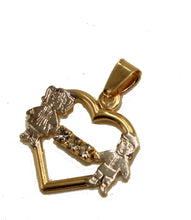 Boy and Girl Heart Pendant 18k Gold Plated with 20 inch