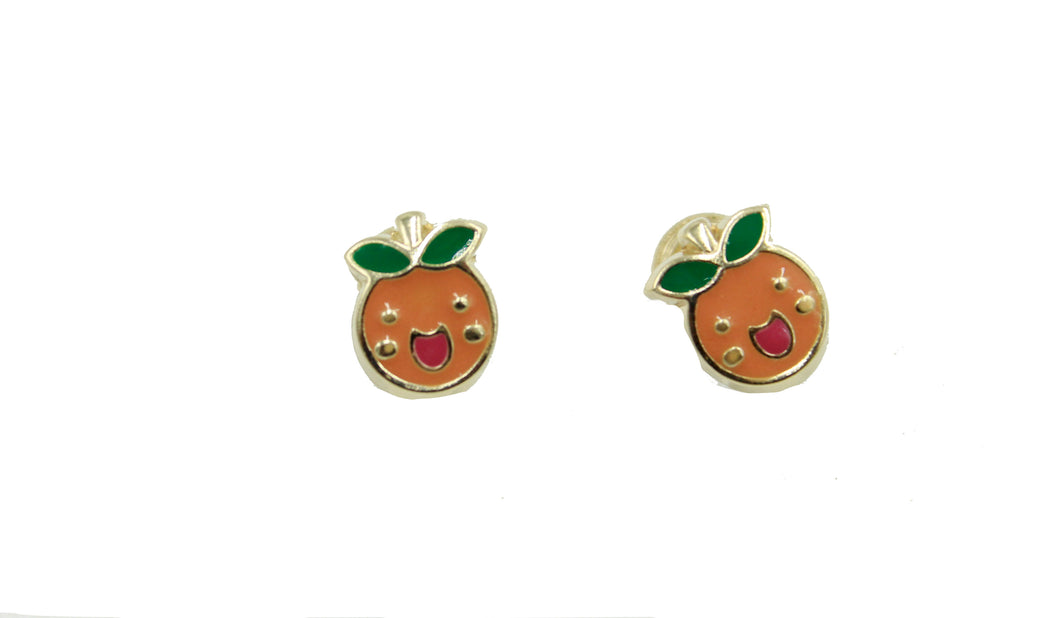 Orange 14k Yellow Gold with Enamel Screw Back Earrings - Orange Studs