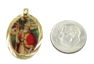 San Lazaro Obispo Medal 14k Gold Plated Medal with 18 Inch Chain